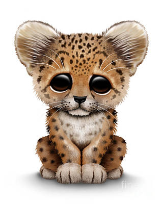 Leopard Digital Art - Cute Baby Leopard Cub by Jeff Bartels