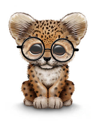 Leopard Digital Art - Cute Baby Leopard Cub Wearing Glasses by Jeff Bartels