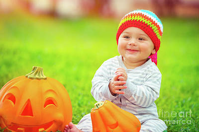 Photograph - Cute Baby Playing With Pumpkins by Anna Om