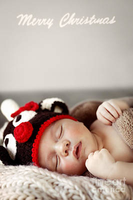 Photograph - Cute Baby Sleeping In Christmas Costume by Anna Om