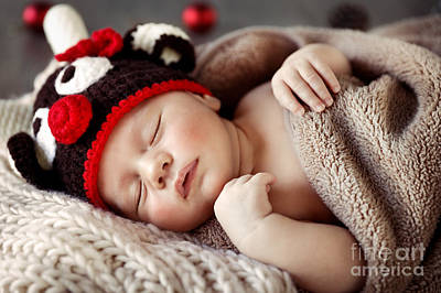 Photograph - Cute Baby Sleeping In Christmas Pajamas by Anna Om