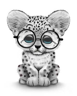 Jeff Digital Art - Cute Baby Snow Leopard Cub Wearing Glasses by Jeff Bartels