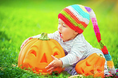 Photograph - Cute Baby With Halloween Pumpkins by Anna Om