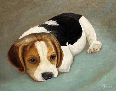 Beagle Wall Art - Painting - Cute Beagle by Angeles M Pomata