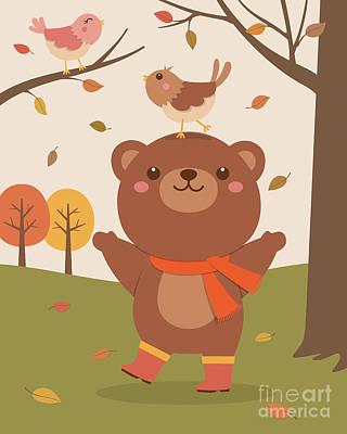 Cute Bear And Birds  Original