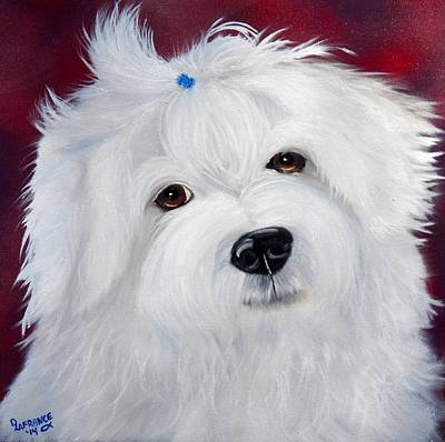 Bichon Frise Dog Painting - Cute Bichon by Debbie LaFrance