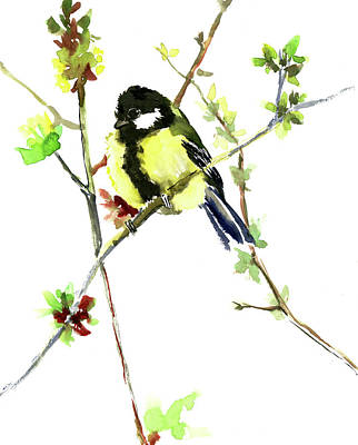 Painting - Cute Bird In The Spring by Suren Nersisyan