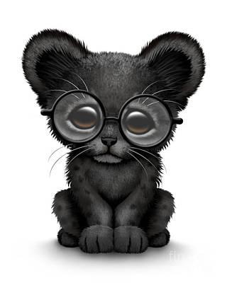 Black Panther Digital Art - Cute Black Panther Cub Wearing Glasses by Jeff Bartels
