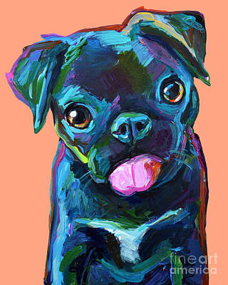 Painting - Cute Black Pug  by Robert Phelps