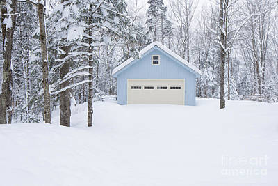Photograph - Cute Blue And Ivory Garage In The Snow by Edward Fielding