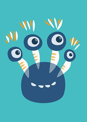 Digital Art - Cute Blue Four Eyed Monster by Boriana Giormova