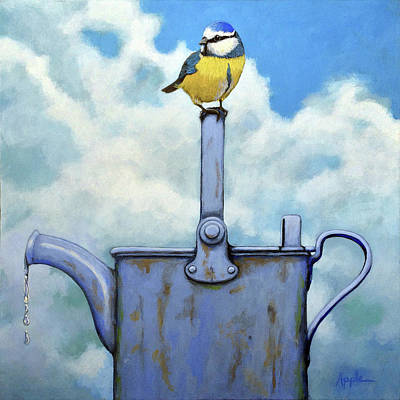 Painting - Cute Blue-tit Realistic Bird Portrait On Antique Watering Can by Linda Apple