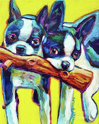 Painting - Cute Boston Terriers by Robert Phelps