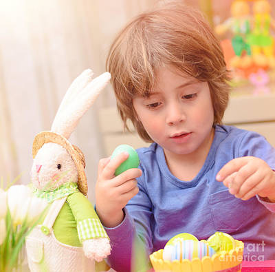 Photograph - Cute Boy Enjoy Easter Holiday by Anna Om