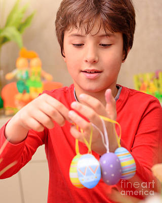 Photograph - Cute Boy Preparing To Easter by Anna Om