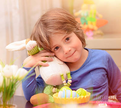 Photograph - Cute Boy With Easter Bunny by Anna Om