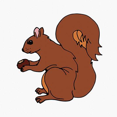 Digital Art - Cute Brown Squirrel  by Irina Sztukowski
