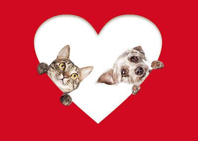 Cute Cat And Dog Peeking Out Of Cutout Heart Art Print