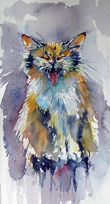 Cute Cat Art Print by Kovacs Anna Brigitta
