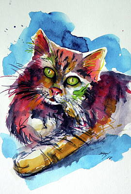 Painting - Cute Cat Resting by Kovacs Anna Brigitta