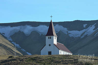 Photograph - Cute Chapel On A  Hill In Vik Iceland by DejaVu Designs