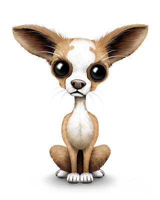 Adorable Digital Art - Cute Chihuahua Puppy  by Jeff Bartels