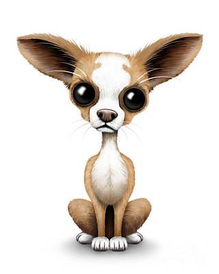 Puppy Digital Art - Cute Chihuahua Puppy  by Jeff Bartels
