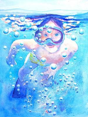 Painting - Cute Child Snorkeling Underwater by Carlin Blahnik CarlinArtWatercolor