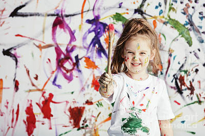 Photograph - Cute Child With Smuges Of Colorful Paint by Michal Bednarek