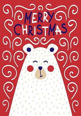 Digital Art - Cute Christmas Card With A Picture Of A Bear In A Scandinavian S by Christopher Meade