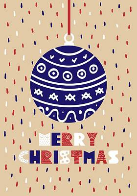 Digital Art - Cute Christmas Card With A Picture Of A Christmas Ball by Christopher Meade