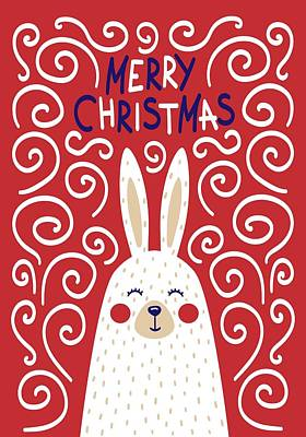 Digital Art - Cute Christmas Card With A Rabbit In A Scandinavian Style by Christopher Meade