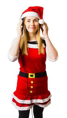 Cute Christmas Girl Listening To Holiday Music  Art Print