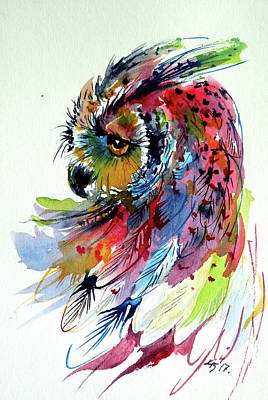 Painting - Cute Colorful Owl by Kovacs Anna Brigitta