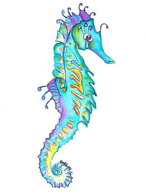 Painting - Cute Colorful Seahorse by Carlin Blahnik CarlinArtWatercolor
