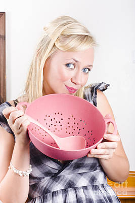 Colander Photograph - Cute Cook Holding Pink Sieve When Cooking At Home by Jorgo Photography - Wall Art Gallery