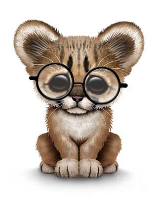 Cute Cougar Cub Wearing Glasses Print by Jeff Bartels