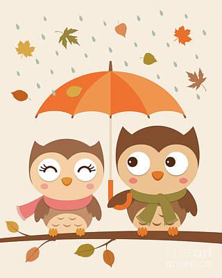 Cute Couple Of Owls Original
