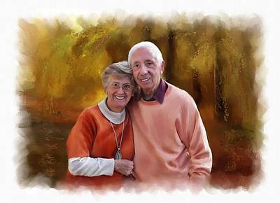 Couple Mixed Media - Cute Couple Portrait by Michael Greenaway
