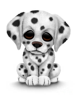 Cute Dogs Digital Art - Cute Dalmatian Puppy Dog by Jeff Bartels