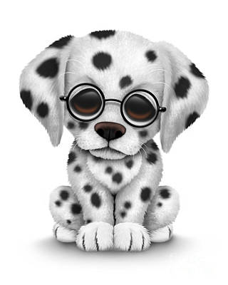 Puppies Digital Art - Cute Dalmatian Puppy Dog Wearing Eye Glasses by Jeff Bartels
