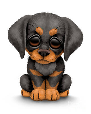 Puppies Digital Art - Cute Doberman Puppy Dog by Jeff Bartels