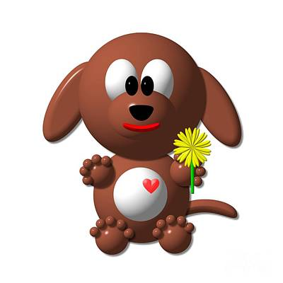 Digital Art - Cute Dog With Dandelion by Rose Santuci-Sofranko