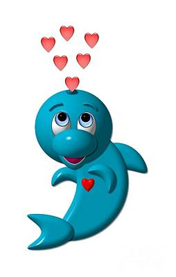 Digital Art - Cute Dolphin With Hearts by Rose Santuci-Sofranko