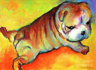 Dog Portrait Painting - Cute English Bulldog Puppy Dog Painting by Svetlana Novikova