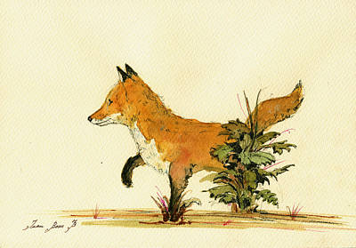 Foxes Painting - Cute Fox In The Forest by Juan  Bosco