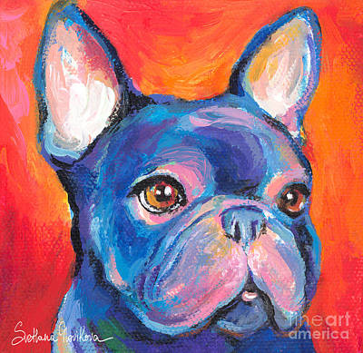 Puppy Painting - Cute French Bulldog Painting Prints by Svetlana Novikova