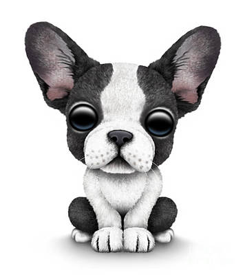 Cute Dogs Digital Art - Cute French Bulldog Puppy  by Jeff Bartels