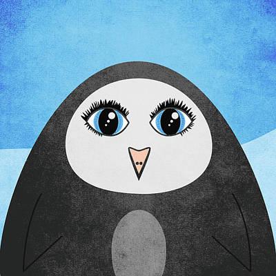 Naive Cartoon Digital Art - Cute Geometric Penguin by Boriana Giormova