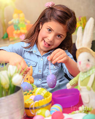 Photograph - Cute Girl Decorate Easter Eggs by Anna Om